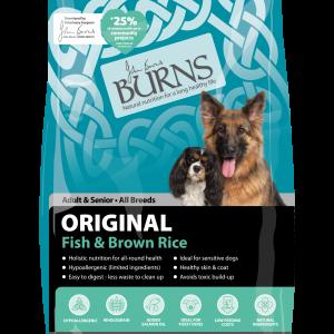 burns pet food original fish dog