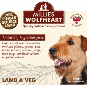 millies wolfheart dog lamb veg wet food