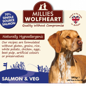 millies wolfheart dog salmon veg wet food