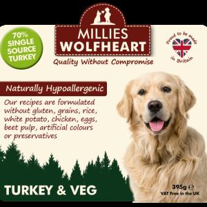 millies wolfheart dog turkey veg wet food